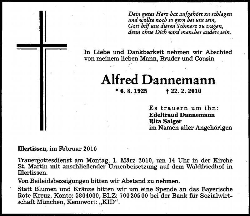 Todesanzeige Dannemann Alfred