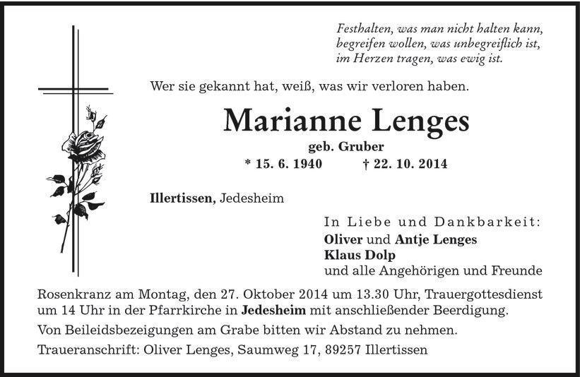 Todesanzeige von Marianne Lenges