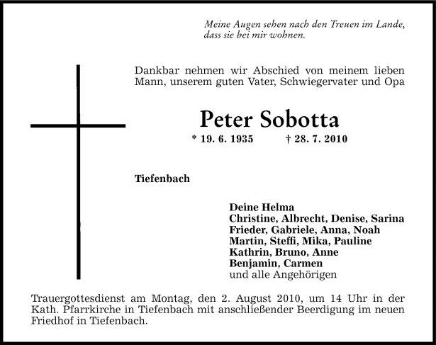 Todesanzeige Sobotta Peter