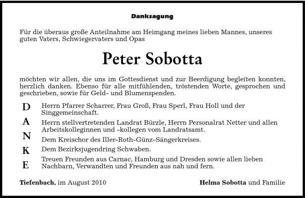 Danksagung Sobotta Peter