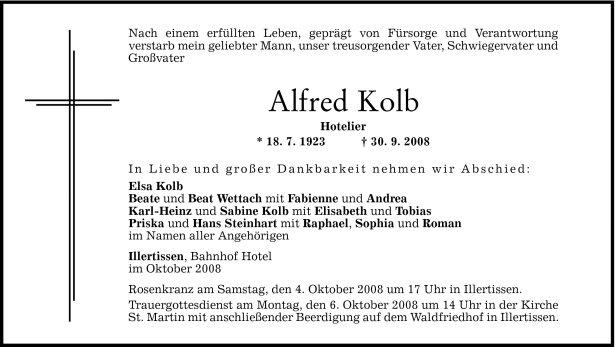 Todesanzeige Alfred Kolb