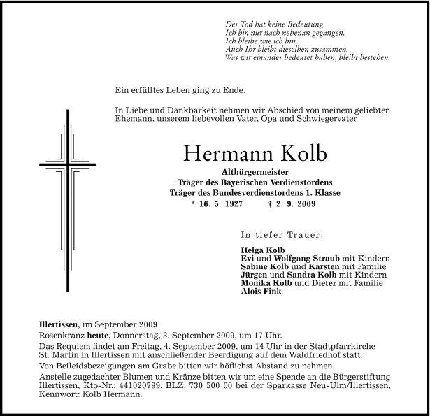 Todesanzeige Hermann Kolb