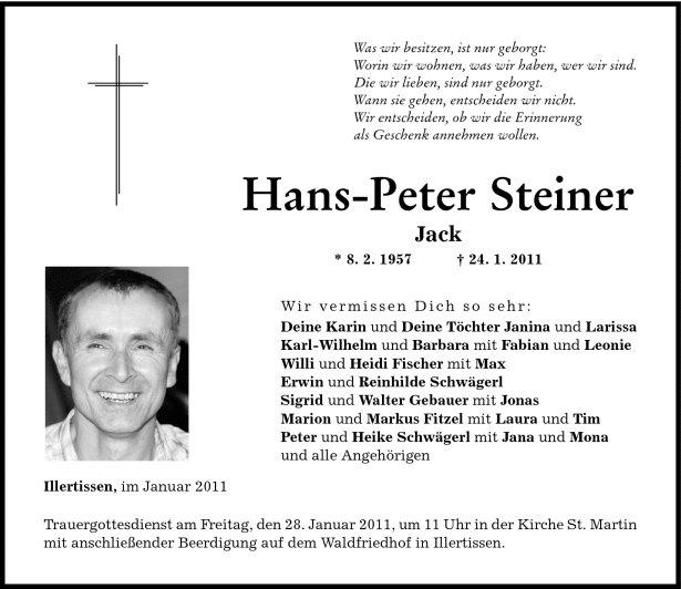 Todesanzeige Steiner Hans-Peter